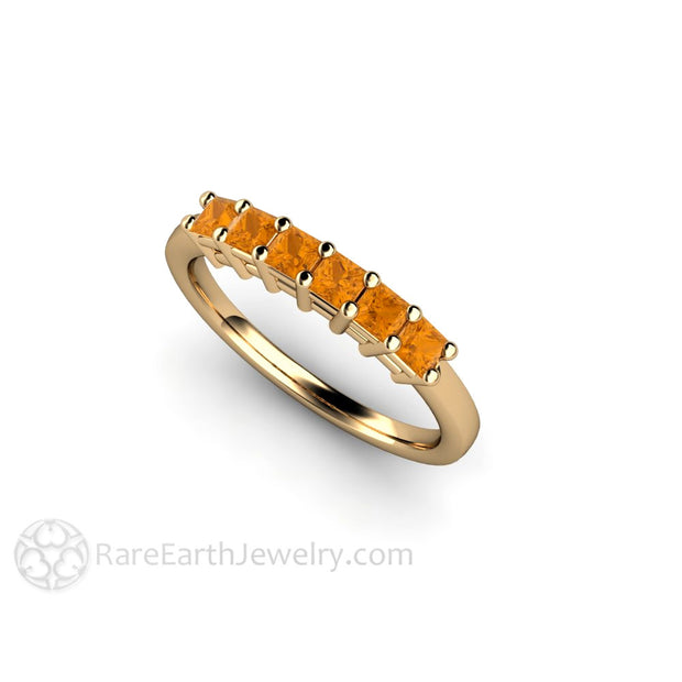 14K Citrine Ring Princess Cut Anniversary Band October Birthstone Rare Earth Jewelry