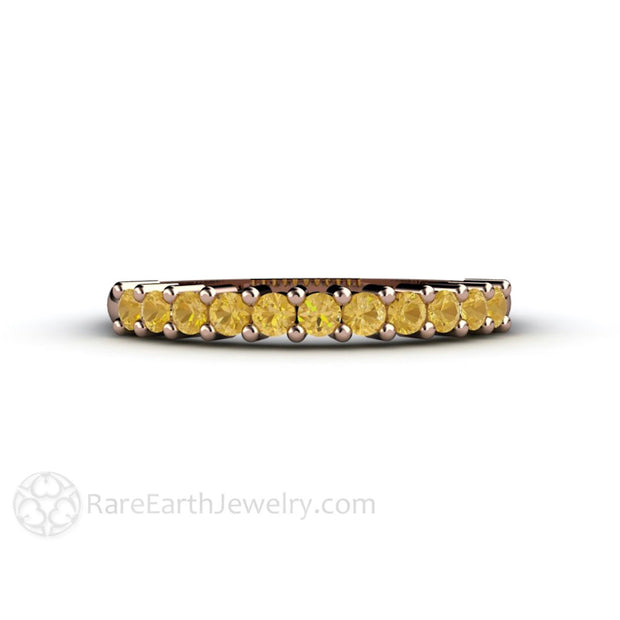 Rare Earth Jewelry Golden Citrine Anniversary Band or Stacking Ring 14K Rose Gold