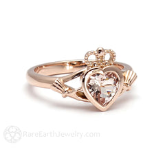 Rare Earth Jewelry Claddagh Wedding Ring Engagement or Bridal Heart Morganite Bezel Setting