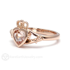 Rare Earth Jewelry Morganite Ring 14K Rose Gold Heart Claddagh