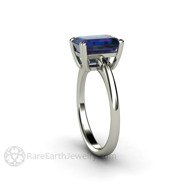 Rare Earth Jewelry Color Change Alexandrite Solitaire Ring 9x7mm Emerald Solitaire 14K White Gold