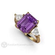 Rare Earth Jewelry Color Change Purple Sapphire Engagement Ring Emerald Cut 3 Stone 18K Gold