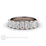 Rare Earth Jewelry Colorless Emerald Cut Moissanite Ring Woven Rose Gold 7 Stone