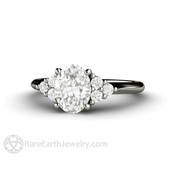 Rare Earth Jewelry Colorless Moissanite Bridal Ring 8x6mm Oval Cut with Round Cut Diamond Accents 14K or 18K Gold