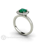 Rare Earth Jewelry Conflict Free 6mm Cushion Emerald and Diamond Bridal Ring 14K 18K or Platinum Setting