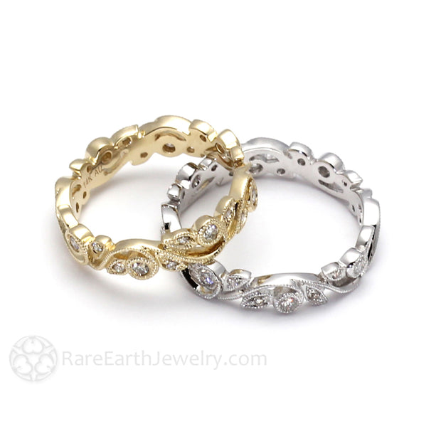 Rare Earth Jewelry Conflict Free Natural Diamond Stacking Ring Vintage Milgrain Leaf Setting