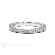 Rare Earth Jewelry Engraved Wedding Ring with Princess Cut Diamonds and Milgrain