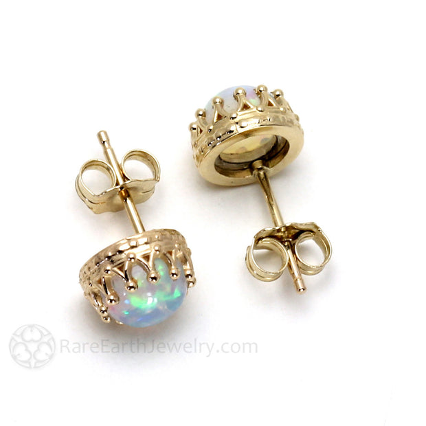 14K Gold Opal Earrings Crown Design Post Friction Backs Rare Earth Jewelry
