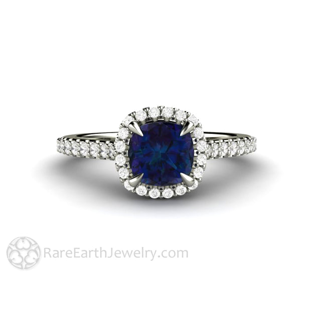 Cushion Alexandrite Ring with Diamond Halo 1 Carat June Birthstone Ring in 14K White Gold by Rare Earth Jewelry