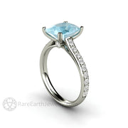 Rare Earth Jewelry Cushion Aquamarine Bridal Ring 14K White Gold Double Prong Cathedral Setting Diamond Accent Stones