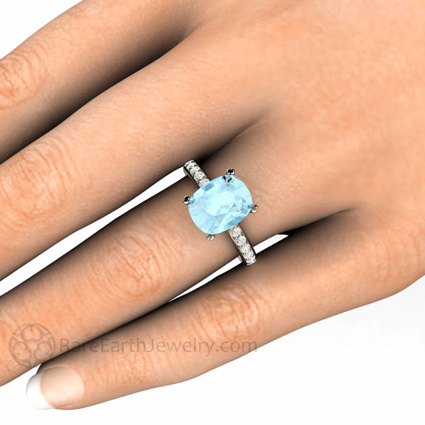 Rare Earth Jewelry Cushion Aquamarine Engagement Ring 3 Carat Solitaire with Diamond Accents