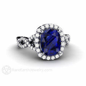 Rare Earth Jewelry Cushion Cut 2.75 Carat Blue Sapphire Halo Ring Diamond Infinity Split Setting