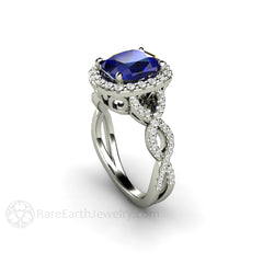 Cushion Cut Blue Sapphire Ring Diamond Infinity Halo and Accent Stones 14K White Gold Rare Earth Jewelry