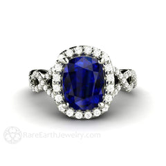 Rare Earth Jewelry Cushion Sapphire Ring Halo Split Shank Diamond Infinity Platinum Setting