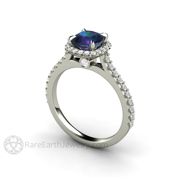 Cathedral Diamond Halo Engagement Ring with Chatham Alexandrite June Birthstone Jewelry by Rare Earth Jewelry