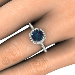 Rare Earth Jewelry Cushion Cut Alexandrite Halo Right Hand Ring on Finger Claw Prong Setting 14K 18K Gold or Platinum