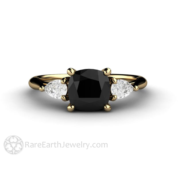 Rare Earth Jewelry Cushion Cut Black Diamond Ring Unique April Birthstone or Anniversary Right Hand Ring 14K Yellow Gold