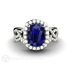 Blue Sapphire Wedding Set with Diamonds Filigree Infinity Halo Rare Earth Jewelry