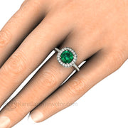 Rare Earth Jewelry Cushion Cut Emerald Halo Right Hand Ring on Finger 14K White Gold Setting