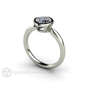 Rare Earth Jewelry Cushion Cut Forever One Moissanite Ring Bezel Setting 14K or 18K Gold