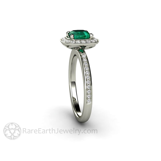 Rare Earth Jewelry Cushion Cut Green Emerald Wedding Ring with Conflict Free Diamonds 14K or 18K