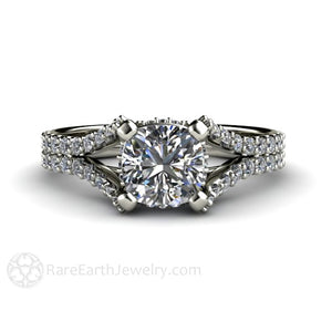 Rare Earth Jewelry Cushion Cut Moissanite Engagement Ring Pave Diamond Accent Stones 14K or 18K Gold