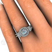 Rare Earth Jewelry Cushion Cut 3 Stone Moissanite Wedding Set on Finger 14K or 18K Gold