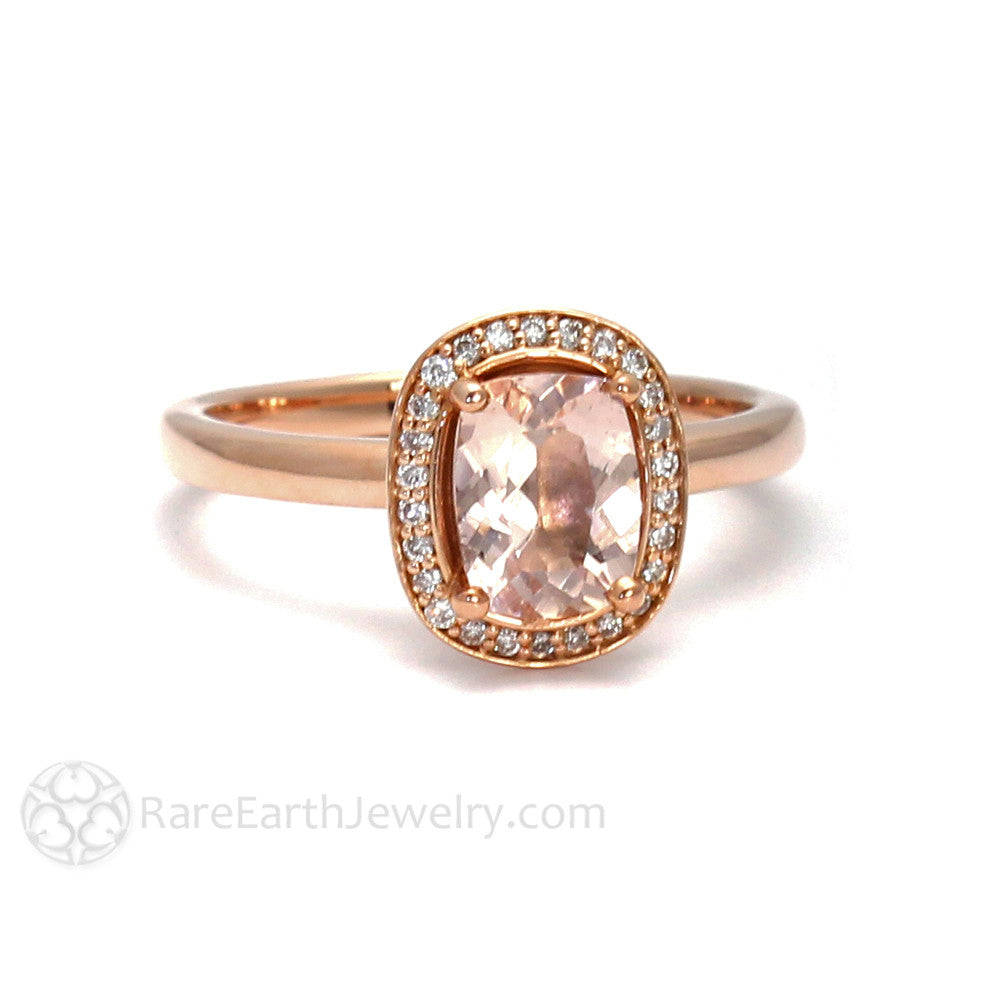 Rare Earth Jewelry Cushion Cut Morganite Halo Engagement Ring