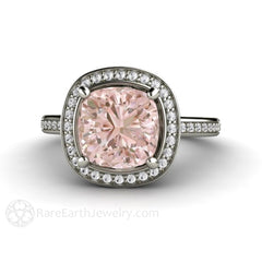 Rare Earth Jewelry Cushion Morganite Ring Diamond Halo Engagement White Gold Setting