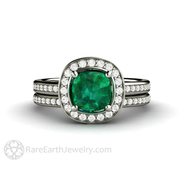 Rare Earth Jewelry Cushion Emerald Wedding Ring Set Diamond Accented Halo and Bridal Band