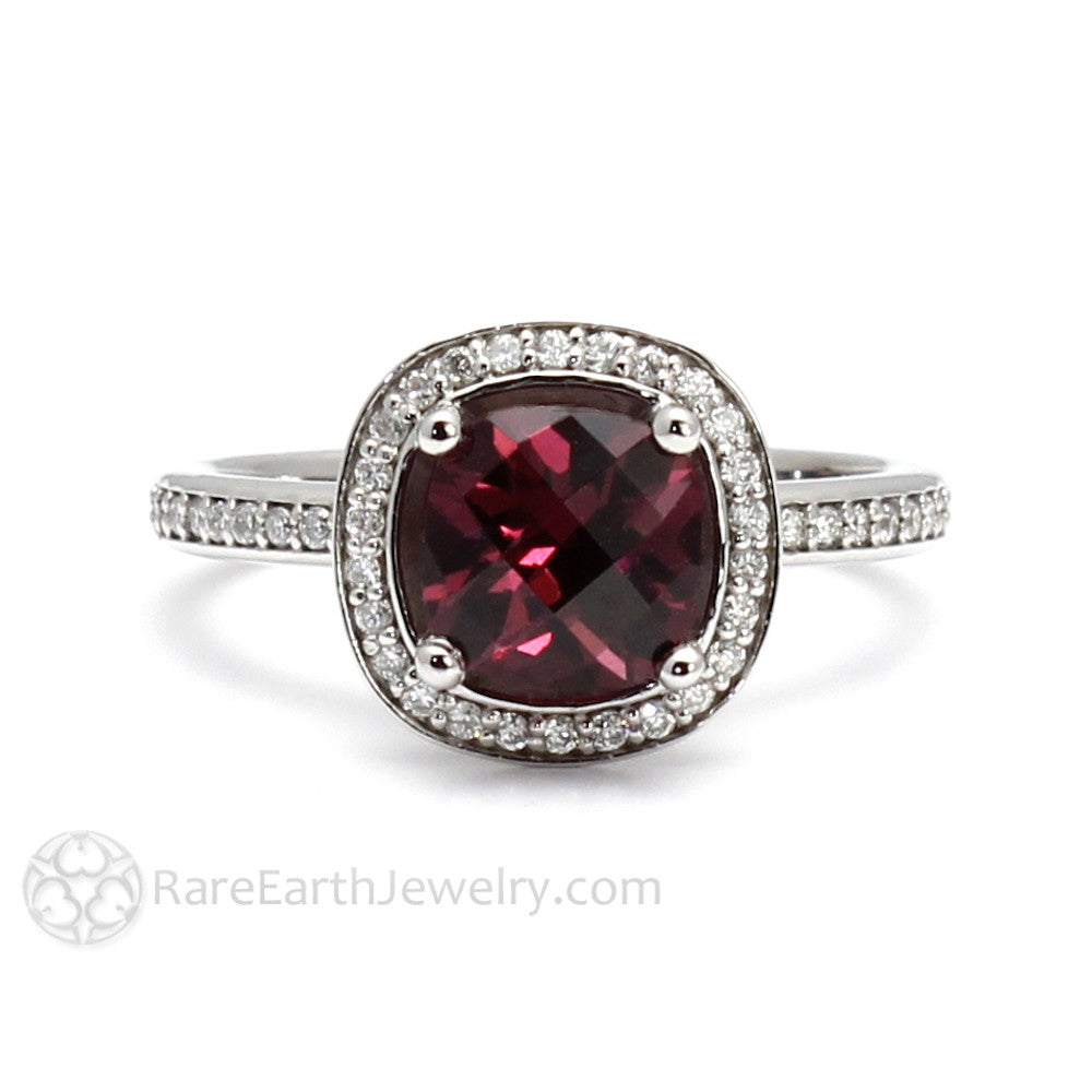 cushion garnet ring with diamond halo accent stones. Black Bedroom Furniture Sets. Home Design Ideas