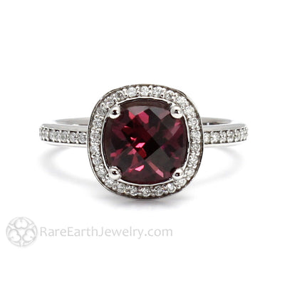 Rare Earth Jewelry Cushion Cut Garnet Ring with Diamonds 14K Gold January Birthstone