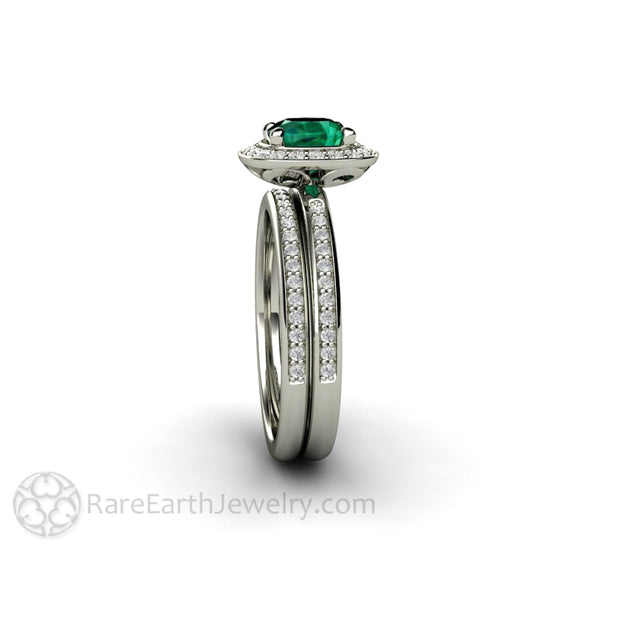 Rare Earth Jewelry Cushion Halo Emerald Wedding Ring Set 1ct Engagement Diamond Bridal Band