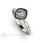 Rare Earth Jewelry Cushion Moissanite Bridal Ring Conflict Free Diamond Alternative 14K White Gold Bezel Setting
