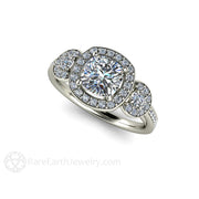 Rare Earth Jewelry Moissanite Engagement Ring Forever One Cushion Halo Three Stone 14K or 18K Gold