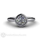 Rare Earth Jewelry Cushion Moissanite Engagement Ring 6.5mm Bezel Platinum Setting