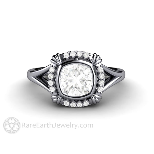 Rare Earth Jewelry Platinum Moissanite Ring Cushion Center with Diamond Accent Stones Anniversary or Bridal