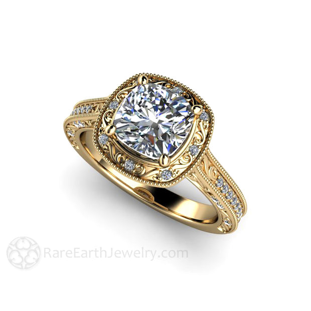 Rare Earth Jewelry 1.5ct Forever One Moissanite Engagement Ring Cushion Diamond Halo 14K Yellow Gold