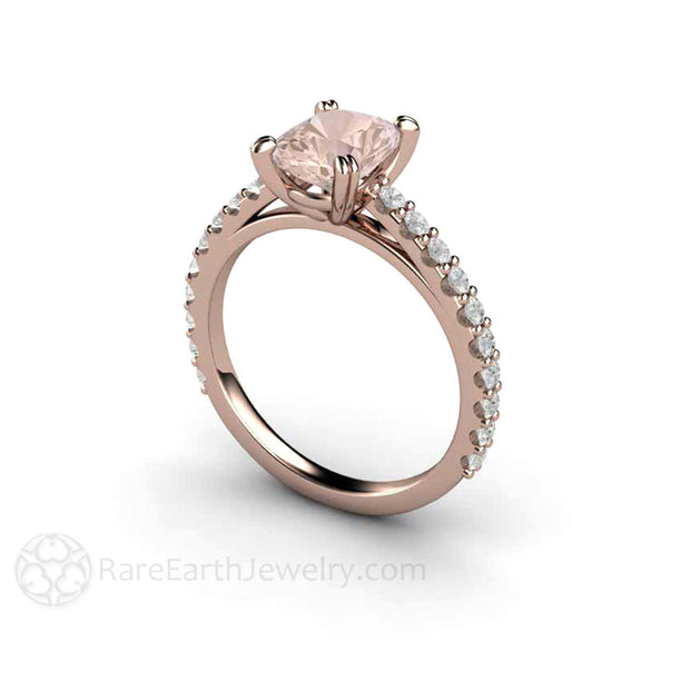 14K Rose Gold Cushion Morganite Solitaire Ring Diamond Accented Rare Earth Jewelry