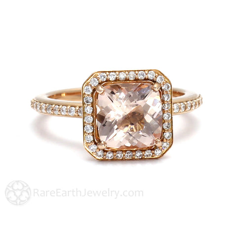 Morganite Cushion Halo Engagement Ring with Diamonds