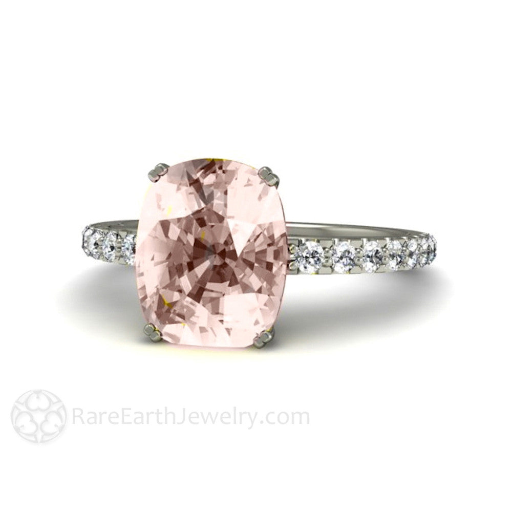 Rare Earth Jewelry Cushion Morganite Solitaire Ring with Diamond Accents 10x8 Center Stone 14K or 18K Gold