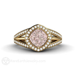 14K Pink Sapphire Halo Anniversary Ring Cushion Cut Rare Earth Jewelry