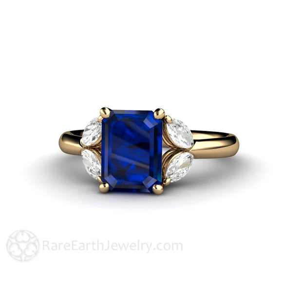 Rare Earth Jewelry Marquise Diamond and Blue Sapphire Ring