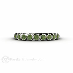 Unique Green Diamond April Birthstone Ring Platinum Bezel Setting Rare Earth Jewelry