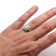 Rare Earth Jewelry Vintage Art Deco Moissanite Ring on Finger