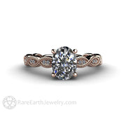 Rare Earth Jewelry Diamond Engagement Ring 14K Rose Gold Vintage Style Setting Oval Cut GIA Certified