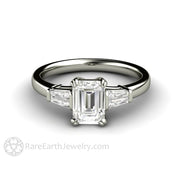 Rare Earth Jewelry Diamond Engagement Ring Three Stone Setting 1ct Emerald Cut