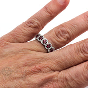 Rare Earth Jewelry Ruby Halo Right Hand Ring on Finger Anniversary or July Birthstone 14K White Gold
