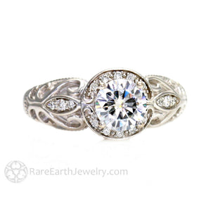 Rare Earth Jewelry Vintage Engagement Ring Art Nouveau Style 1ct GIA Diamond Round Cut 14K White Gold