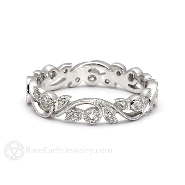 Rare Earth Jewelry Diamond Stacking Ring Eternity Leaf Setting with Milgrain Details